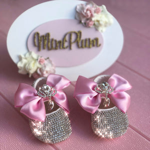 Pink Baby Shoes with Big Diamond Charm