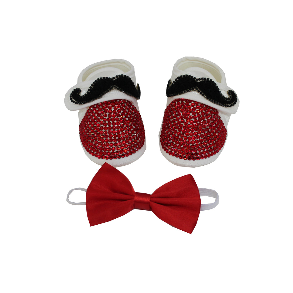 Gentelmans Mustache Red Crystals Baby Boy Custom Shoes and Matching  Bow Tie - miniplum