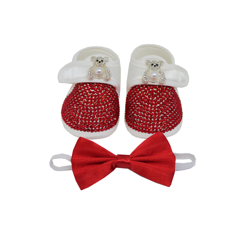 Teddy Bear Red Crystals Baby Boy Custom Shoes and Matching  Bow Tie - miniplum