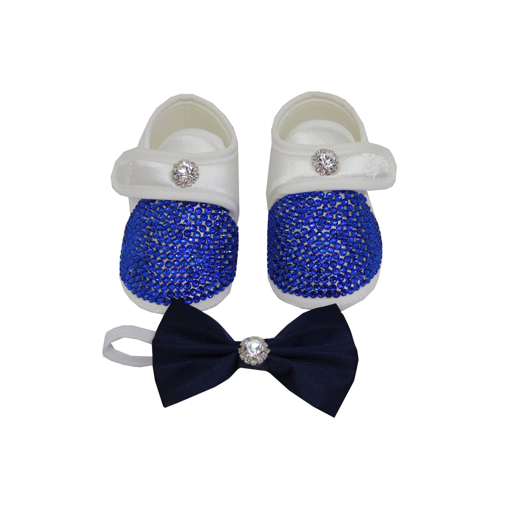 Deep Blue Crystals Baby Boy Custom Shoes and Matching  Bow Tie - miniplum