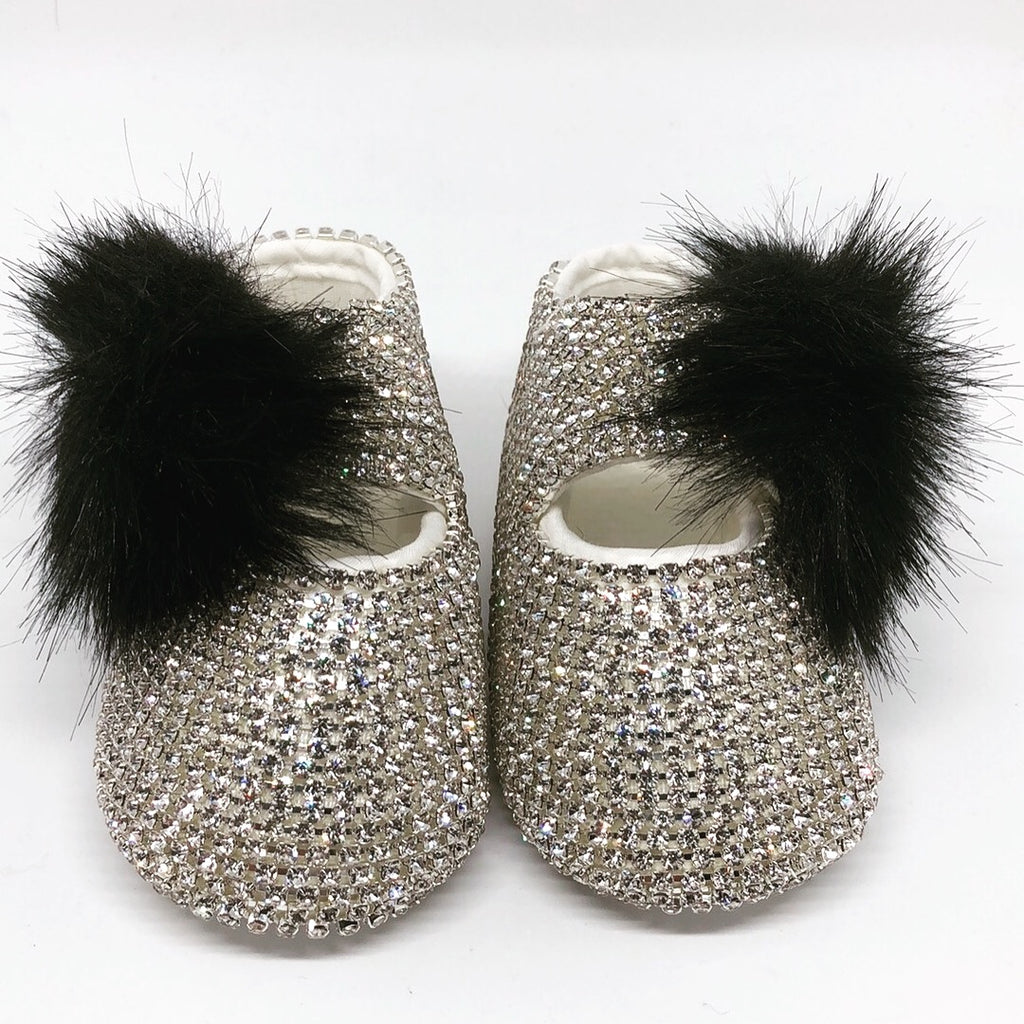 Swarovski Crystal  Black Baby Girl's Special Occasion Shoes - miniplum