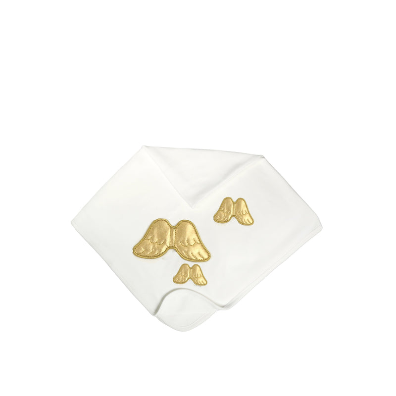 Angel Wings Large Baby Blanket Off-White/ Full Gold - miniplum
