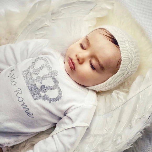 personalised baby grow with crown