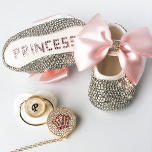 personalised baby girl shoes and dummy clip gift set