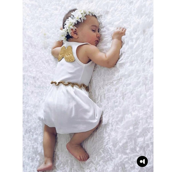 baby girls summer dress with gold angel wings