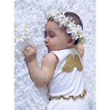 Sleeveless Baby Dress with Gold Angel Wings - miniplum
