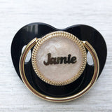 Gold Plated Personalized Pacifier - Black
