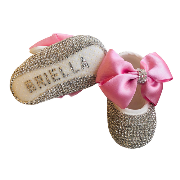 Baby Girl Pink Pram Shoes and Headband