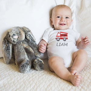 personalised red truck baby grow