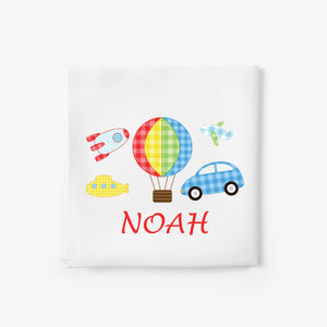 personalised baby blanket with cars