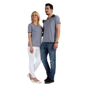 stripe womens top with short sleeves
