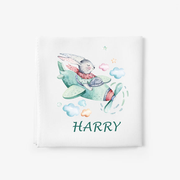 personalised baby blanket with bunny