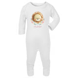 personalised baby grow with lion print