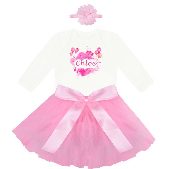 Personalised First Birthday Outfit in pink- miniplum