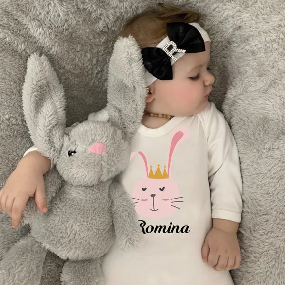 personalised baby grow for girls with bunny print