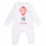 Personalised Baby Sleepsuit- Pink Balloon - miniplum