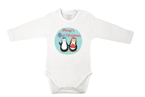 personalized baby grow with penguins