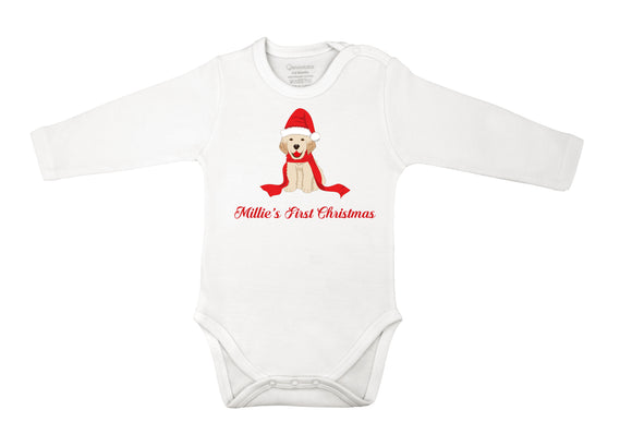 personalized Christmas baby grow with puppy