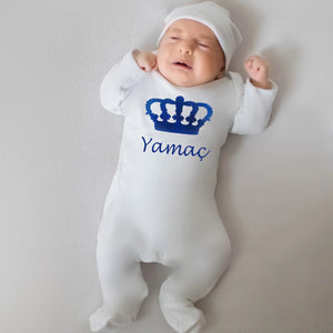Royal Crown Personalised Baby Sleepsuit - miniplum