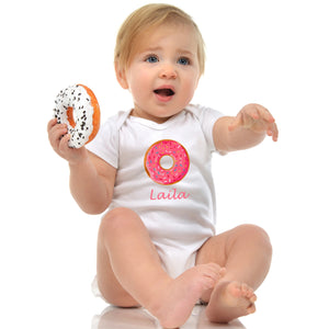 personalised baby grow donut print