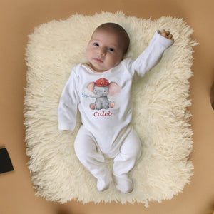 Personalised Baby Sleepsuit- Elephant