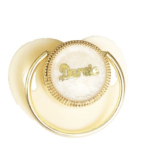 Gold Pleated Personalised Custom Dummy in Ivory - miniplum