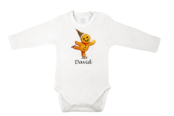personalized ginger bread man baby grow