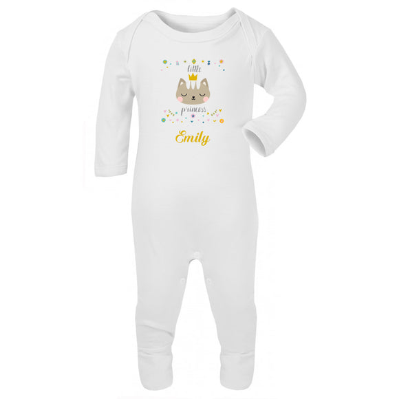 Personalised Baby Sleepsuit- Princess Cat - miniplum