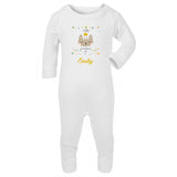 personalised baby grow with cat