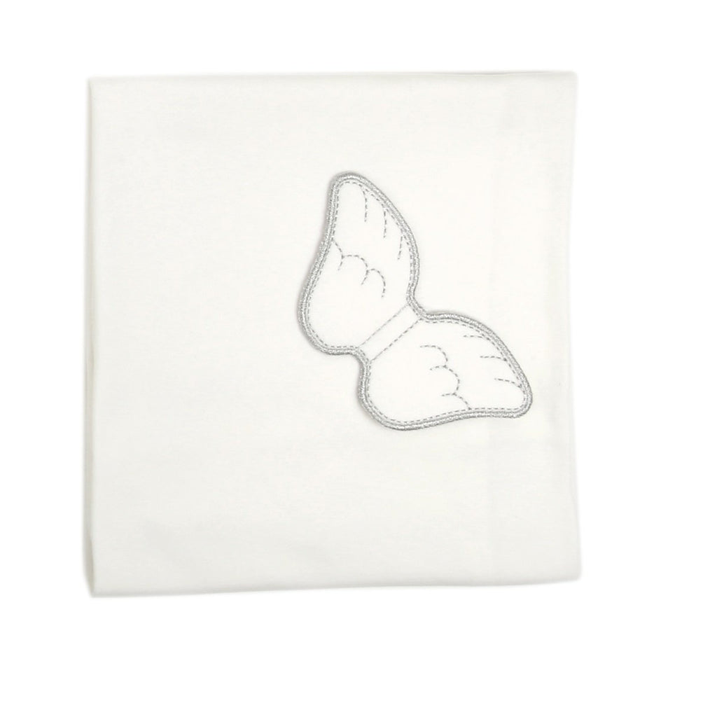 Angel Wings Large Baby Blanket Off-White/Silver - miniplum