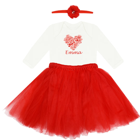 Personalised Red Baby Tutu Set- Hearts
