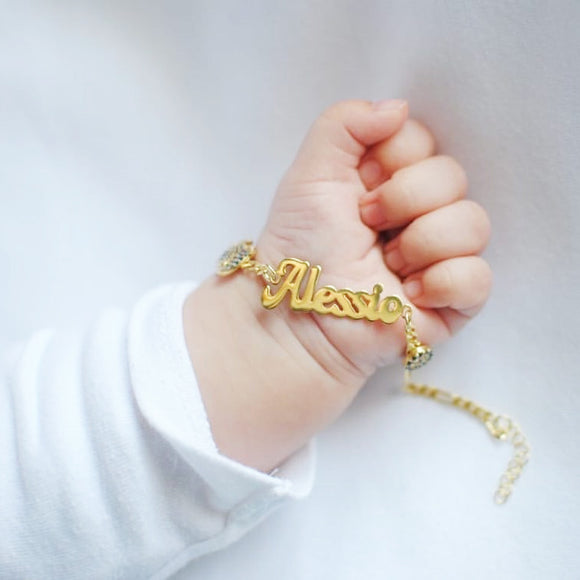 Personalized 925 Solid Silver Baby Bracelet with Charms