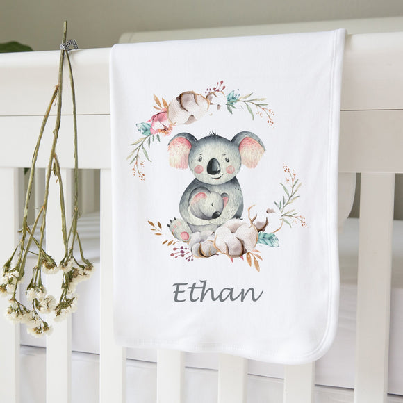 personalized koala baby blanket