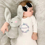 personalised baby grow with lavender wreath
