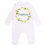 personalised lemon print baby grow