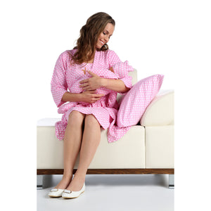 5-Piece Matching Mum & Baby Maternity & Nursing Pajama Set with Baby Sleepsuit- Hospital Gown - miniplum