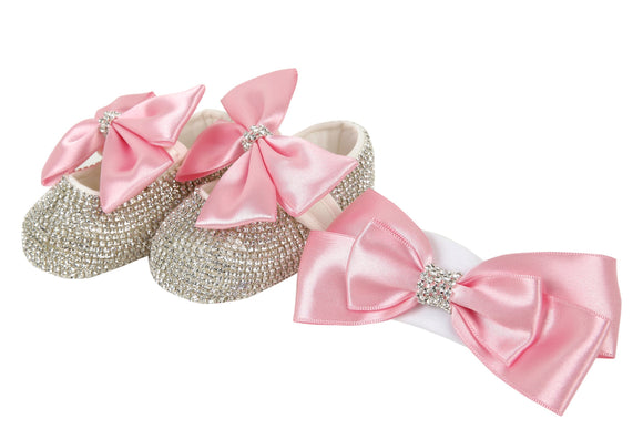 pink baby girl gift - pink baby shoes and headband