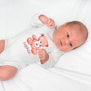 personalized baby grow with teddy l