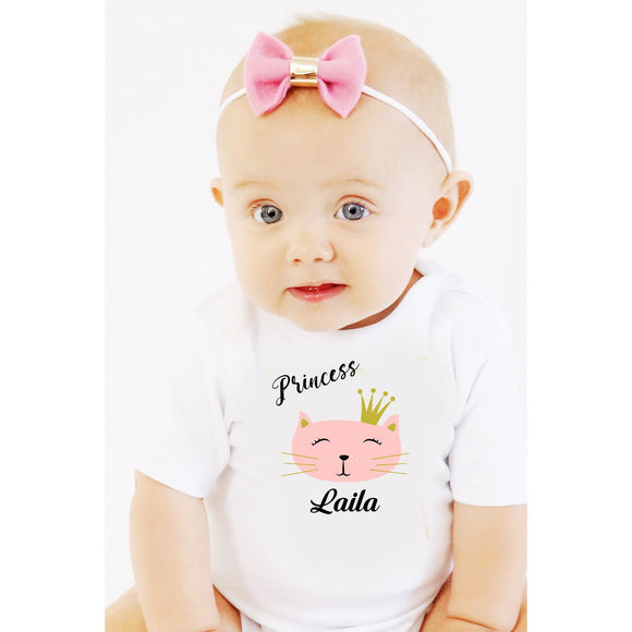 personalized baby grow with kitty