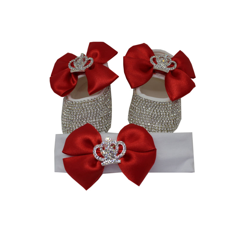 Baby Prom Shoes and Hairband Set Gift Set in Red - miniplum