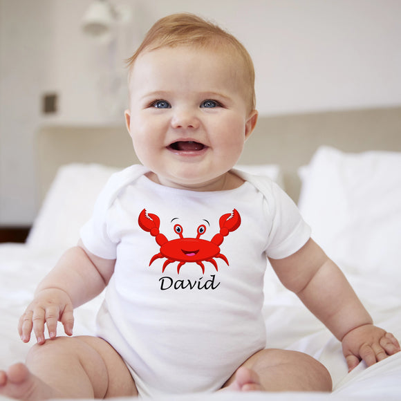 personalised baby grow with red crab
