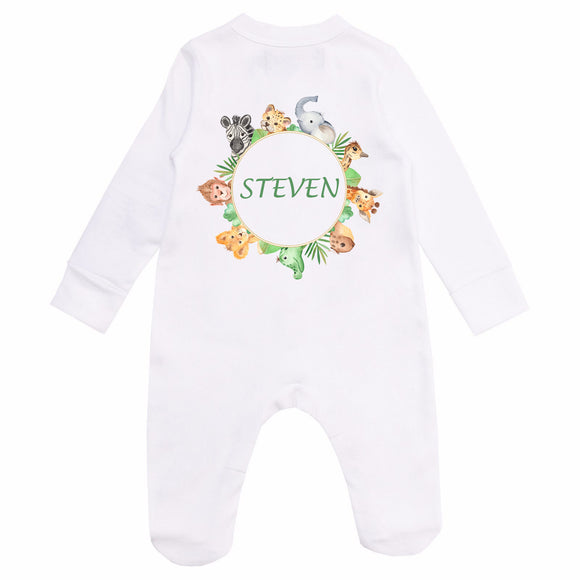 Personalised Baby Sleepsuit- Forest