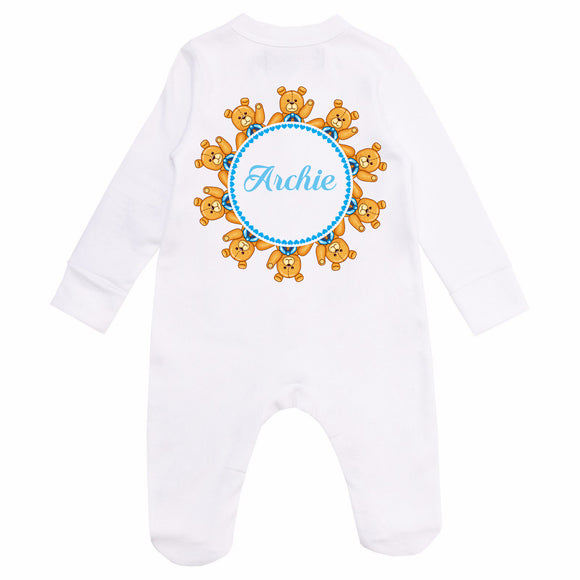 Personalised Baby Sleepsuit- Bears in Blue - miniplum
