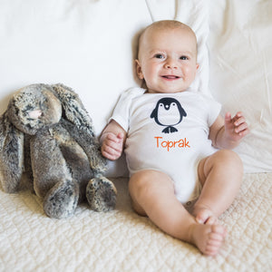 Personalised Penguin Baby Bodysuit - miniplum