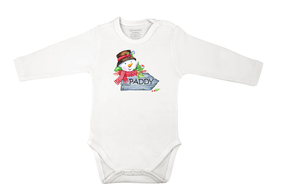 personalized Christmas baby grow with snowman