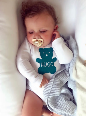 Personalised Teddy Baby Bodysuit - miniplum