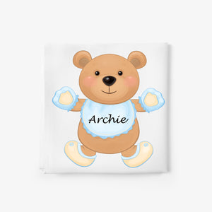 personalised baby blanket with teddy bear