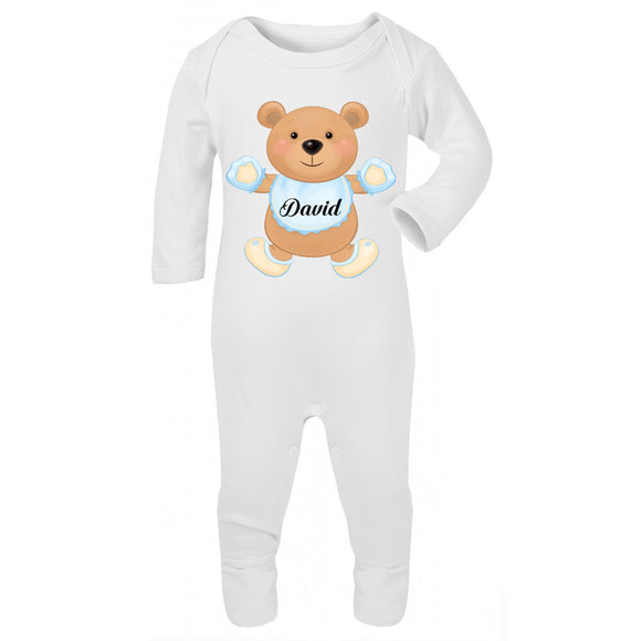 Personalised Baby Sleepsuit- Teddy Bear - miniplum