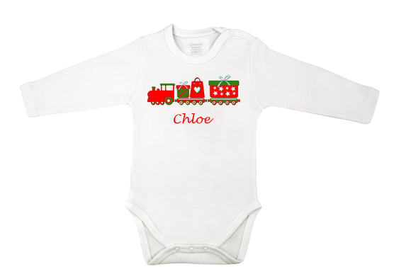 personalized Christmas baby grow with trains