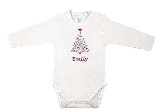 personalized Christmas tree baby grow